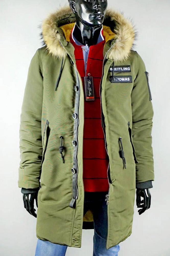 Norvég military style kapucnis téli hosszú férfi kabát